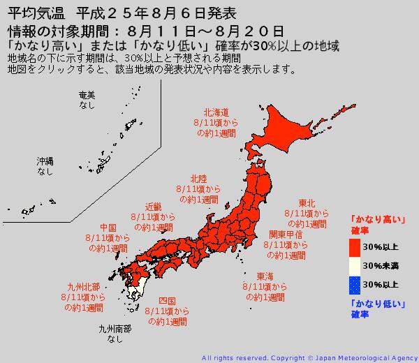 8月上旬から中旬 猛暑再び