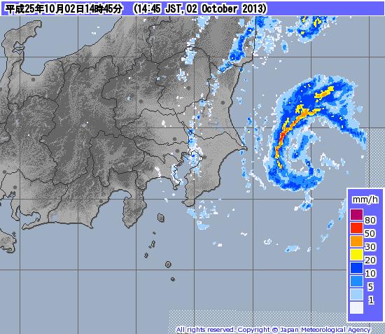 台風のスパイラルバンドで発達した積乱雲