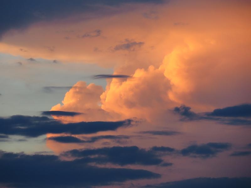 夕日に輝く積乱雲